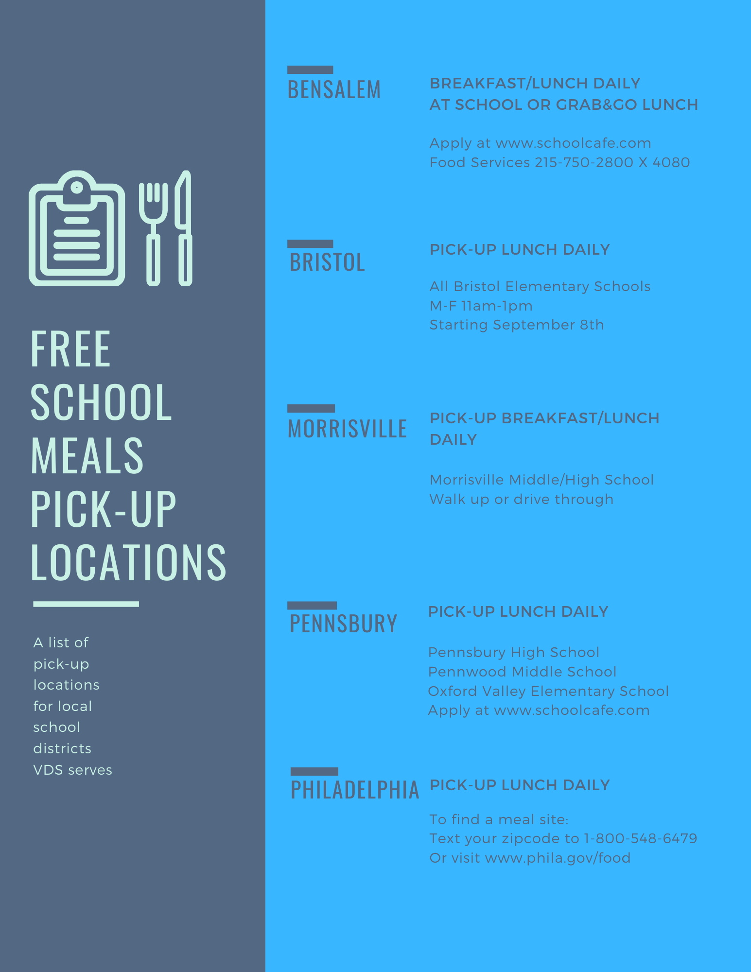 Free meals by district